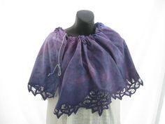 Purple pink cotton hand dyed shawl, repurposed vintage lace, funky, romantic, boho skirt, up cycled shrug, funky dyed top, artsy beach wrap by thelavenderpear on Etsy