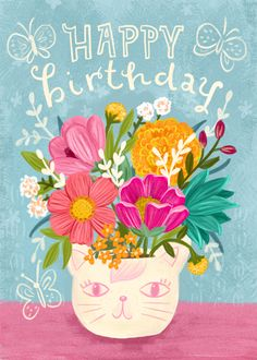 A new Happy Birthday card. Happy Birthday Cards Images, Birthday Wishes Greeting Cards, Cute Happy Birthday, Happy Birthday Beautiful, Birthday Pictures, Happy Birthday Wishes, Birthday Greetings, Happy Birthdays, Happy Birthday Illustration