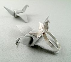 Origami Jewelry Silver Crane Ring Origami Crane Origami Bird  Sterling silver origami crane ring. The original piece was made of parchment card, then