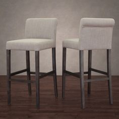 Cosmopolitan Beige Linen Barstool (Set of 2) - Overstock™ Shopping - Great Deals on 555 Bar Stools