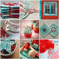 Turquoise and red mosaic by the green gables, via Flickr