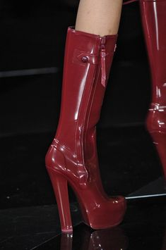 Louis Vuitton dark red patent Boots Paris Fashion Week 2011 #Heels #LV #Boots
