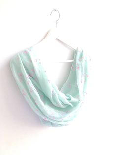 Spring is Here !  A Wonderful Spring Color, Light Green infinity Scarf with Pink Flowers Pattern,  Suitable for All Seasons especially For Spring Summer  This beautiful Sca...
