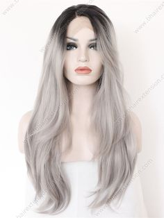 K'ryssma Ombre Gray 2 Tones Synthetic Lace Front Wig Dark Roots Long Natural Straight Silver Grey Replacement Hair Wigs For Women Heat Resistant Fiber Hair Half Hand Tied 22 Inches -- Visit the image link more details. (This is an affiliate link) Blonde Ombre Hair, Grey Hair Wig, Lace Hair, Brown Blonde, Balayage Hair, Synthetic Lace Front Wigs, Synthetic Wigs, Wig Hairstyles, Straight Hairstyles