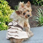 wool fur trimmed - Dog harness coat-camel