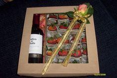 Bouquet de fresas con vino
