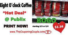Eight O'Clock Coffee Only $2.36 @ Publix starting 5/3 or 5/4. Print your coupons and get ready to score good coffee at a great price folks! **  Click the link below to get all of the details ► http://www.thecouponingcouple.com/eight-oclock-coffee-only-2-36-publix/ #Coupons #Couponing #CouponCommunity  Visit us at http://www.thecouponingcouple.com for more great posts!