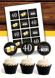 Hey, I found this really awesome Etsy listing at https://www.etsy.com/listing/290845781/cheers-beers-for-40-years-cupcake