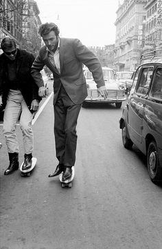 Clint Eastwood photographed skateboarding in Rome by Elio Sorci, 1965