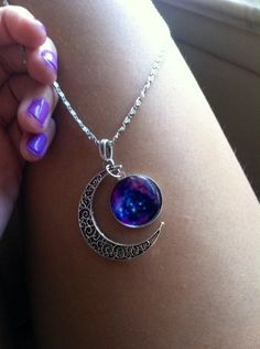 18 inch silver chain :') Purple glass pendant with a crescent moon charm