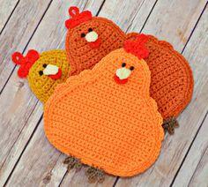 Pot Holder Crochet Chickens , Kitchen , Housewares , Handmade , Crochet Pot Holders , Fall , Autumn , Halloween , Gift Ideas , Christmas