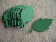Items similar to Paper Piece Set of Very Pretty Green Paper Leaves Scrapbook Embellishments on Etsy Favor Tags, Gift Tags, Die Cut Paper, Paper Leaves, Wedding Place Settings, Green Paper, Handmade Tags, Pretty Green, Scrapbook Embellishments