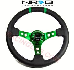 NRG Steering Wheel (Limited Edition Deep Dish, Black Leather/Green Spokes/Green Double Stripes, 350mm, ST-016R-GN)