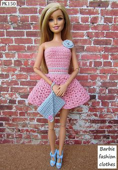 Barbie Doll Clothes Crochet New Handmade - kilo yio Crochet Barbie Clothes, Doll Clothes Barbie, Crochet Dolls, Barbie Doll, Barbie Patterns, Doll Clothes Patterns, Clothing Patterns, Dress Barbie, Barbie Wardrobe