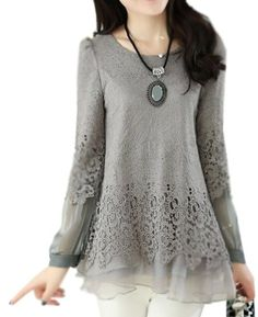 Women Lepel Slim Fit Floral Lace Long Sleeve Organza Blouse