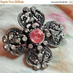 SALE Pewter Tone FOUR LEAF Clover Flower Brooch, Pink Stone Pin by VintageVarietyFinds on Etsy