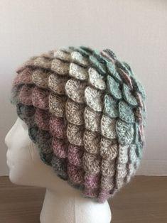 Crochet warm winter hat/toque crochet crocodile stitch/dragon /mermaid scale-shades of light paste Crochet Crocodile Stitch, Knit Crochet, Crochet Hats, Warm Winter Hats, Lovely Shop, Mermaid Scales, Black Crystals, Beanies, Crystal Beads