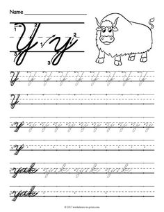 Free Printable Cursive Y Worksheet Cursive Writing Practice Sheets, Teaching Cursive, Handwriting Practice Worksheets, Cursive Writing Worksheets, Writing Cursive, Handwriting Ideas, Handwriting Analysis, Cursive Uppercase Letters, Writing