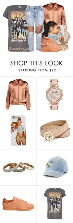 """."" by xbad-gyalx ❤ liked on Polyvore featuring Boohoo, Michael Kors, GUESS, SO, adidas and River Island"