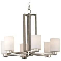 This Contessa six-light chandelier brings a contemporary style to home decor. The cylindrical white opal glass shades give a soft glow when lit. The brushed steel finish of the frame and the rectangular lines add to the chic styling of this chandelier.
