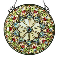 Chloe Tiffany-style Floral Design Stained Glass Window Panel (Round Stained Glass Panel), Multi