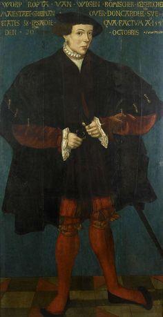 Portrait of Worp van Ropta, Chief Magistrate of East Dongeradeel, Friese School 1542, 1542