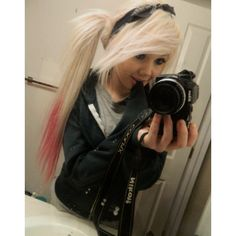♣ Dyed hair ♥ ❤ liked on Polyvore featuring hair, girls, people, sevie and blonde hair