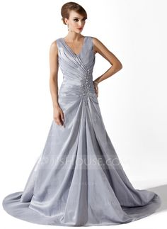 A-Line/Princess V-neck Court Train Ruffle Lace Beading Zipper Up Regular Straps Sleeveless No Silver Spring Fall Winter General Plus Taffeta Mother of the Bride Dress