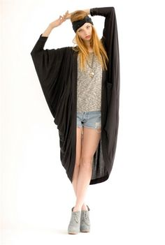 Bat Wing Drape Cape: $184   Soft black cotton draped cape jacket. Dolman bat wing style sleeves. By, Laugh Cry Repeat.