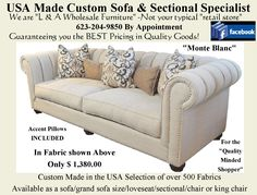 """The """"Monte Blanc"""". Available as a Sofa, Loveseat, Chair, King chair or Sectional. Over 800 fabrics to choose from. Home Furnishing Accessories, Home Furnishings, Fairmont Designs, King Chair, Aspen House, Parker House, Custom Sofa, Wholesale Furniture, Upholstered Sofa"""
