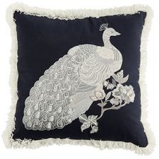 Portica Embellished Glam Peacock Pillow