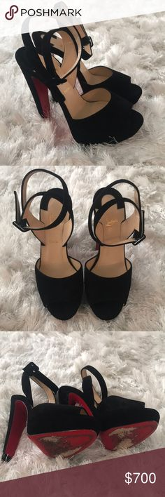 Christian Louboutin Heels Black suede Christian Louboutin loulou dance sandals. Worn only a few times. Only selling because they're a little big on me. Purchased this year from saks. Still have the receipt. Comes with original dust bag and shoebox. Christian Louboutin Shoes