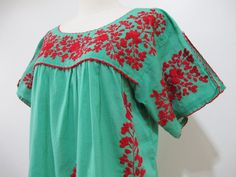 Mexican Embroidered Blouse Split Sleeves In Green by chokethai, $50.00