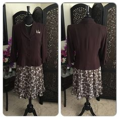 Sweet & Sassy Skirt Suit  Brown & Cream  Sweet & Sassy Skirt Suit  Brown & Cream  Lightweight  Machine Washable  Great Suit for warmer days  Jackets & Coats
