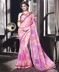 Pink Color Brasso Party Wear Sarees :  Purva Collection  YF-43037