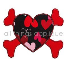 Valentine Applique Design - Heart Crossbones - Machine Embroidery Applique Design by allthingsapplique on Etsy https://www.etsy.com/listing/90246055/valentine-applique-design-heart