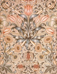 Lily and Pomegranate Wallpaper Design, 1886 (colour woodblock print on paper), Morris, William (1834-96) / Private Collection / The Stapleto...