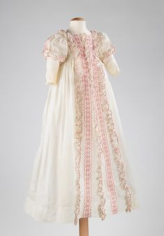 Infant's (Christening?) Gown, circa 1830-50 | It's nice to see an infant's dress with a touch of color. So adorable!
