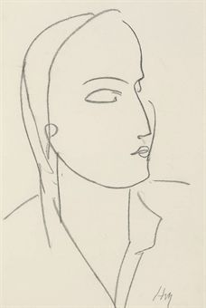 Henri Matisse (1869-1954) Profil de femme signed with initials 'HM' (lower right) charcoal on paper 22½ x 15 in. (57.2 x 38.1 cm.) Drawn in 1950 Estimate $50,000 -$70,000