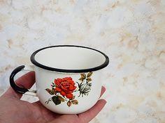 Soviet enamel mug. 1970's Vintage white enamelware by SovietDreams