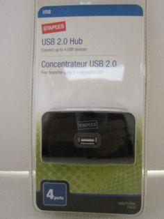Staples USB 2.0 Hub 4 Ports One Top-Loading AC Power Adapter Manual PC MAC New #Staples