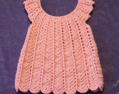 Crochet Baby Dress, 12 Months, Baby Dress, Crocheted Baby Dress, Pink