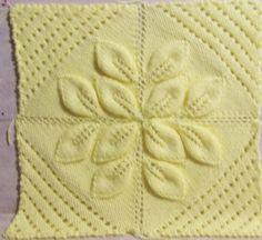 all 4 blocks attatched. Leaf Knitting Pattern, Crochet Leaf Patterns, Knitting Squares, Baby Cardigan Knitting Pattern Free, Spool Knitting, Lace Knitting Patterns, Knitting Stiches, Crochet Leaves, Baby Knitting