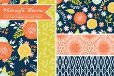 Vector Midnight Blooms Patterns by Cocoa Mint - lovely illustration and great contrast colors!