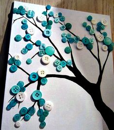 Button Crafts for Kids: Find a printable template and have the kids glue the buttons on as leaves.