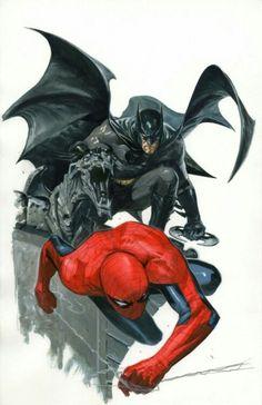 Batman and Spider-Man by Gabriele dell'Otto