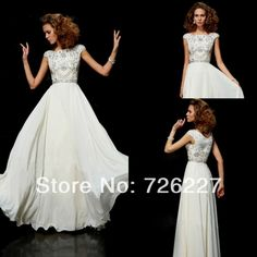 Find More Prom Dresses Information about Gorgeous A line Scoop Cap Sleeves White Custom Made Plus Size with Crystals Beaded 2014 Long Modest Prom Dresses with Sleeves,High Quality cap sleeve flower girl dress,China dresses kid Suppliers, Cheap cap sleeve formal dress from Formal Dress Factory on Aliexpress.com