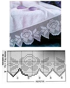 Crochet Boarders, Crochet Edging Patterns, Crochet Lace Edging, Crochet Diagram, Lace Patterns, Crochet Designs, Crochet Doilies, Filet Crochet, Crochet Art