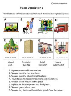 Places Descriptions 2 worksheets Play School Activities, Kindergarten Reading Activities, First Grade Activities, English Worksheets For Kids, 2nd Grade Worksheets, English Activities, Community Helpers Pictures, English Units, Travel English