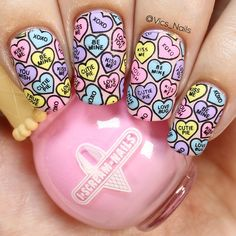 Create beautiful stamped nails with this wonderful stamping plate with lots desi… - Nageldesign Valentine Nail Art, Heart Nails, Stamping Nail Art, Fall Nail Designs, Halloween Nail Art, Cupcakes, Nail Decorations, Holiday Nails, Gorgeous Nails